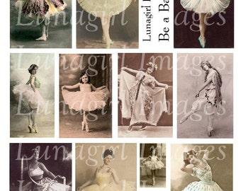 DANCE BALLERINA digital collage sheet, vintage photos dancers, Victorian women girls Ballet dancing art, elegant printable ephemera DOWNLOAD