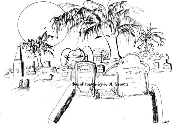 Página para colorear para imprimir cementerio espeluznante