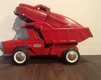 Vintage Buddy L Dump Truck and Fire Hose & Water Pumper Truck Combo