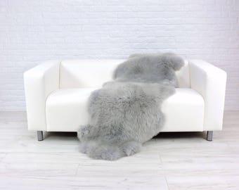 Giant genuine British DOUBLE sheepskin rug dyed silver grey 185cm x 70cm D16