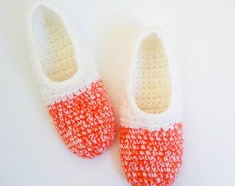 Womens Slippers,Bedroom Slippers,Valentines Gift for Her,Travel Slippers,Orange White House Shoes,Orange Socks,Student Dorm Slippers