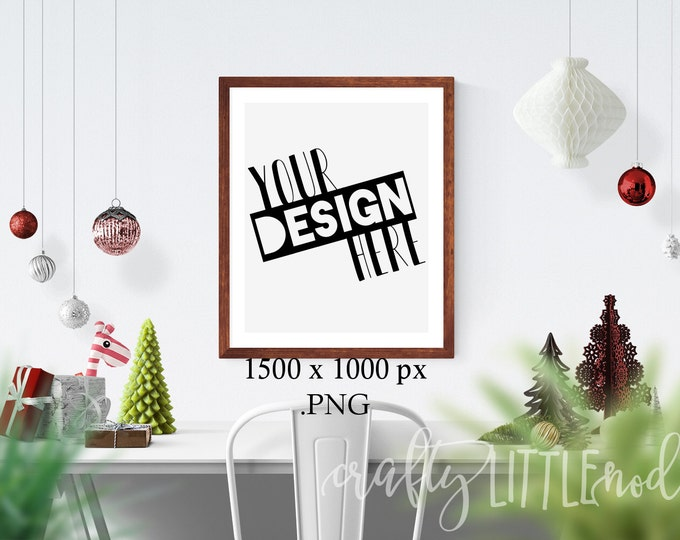 MOCKUP Christmas Styled Photo Stock Photography Santa Tree Ornaments Framed Mock up Mockups PNG Svg Designs Blank Frame Print Stylized Logo