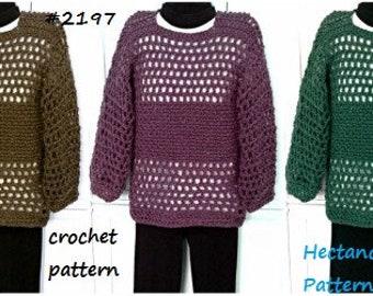 CROCHET SWEATER PATTERN, Summer Pullover, Unisex style, teens, men, women, #2197, Instant Digital download, crochet patterns