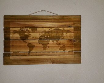 Pallet map etsy pallet art map of the world gumiabroncs Choice Image