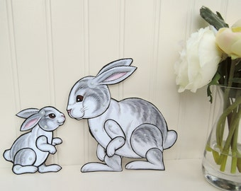 Rabbit and Baby Bunny Articulated Paper Dolls - Nursury Decor Art, Mother's Day, Baby Shower, New Baby Gift