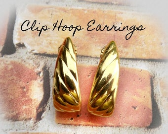 Vintage Gold Clip Earrings, Clip Earrings vintage -  clip on earrings - Gold hoop earrings - Gold Tone Hoop Clip  Earrings- # J 12