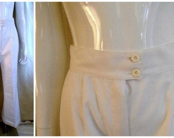 Vintage 1970's White Bellbottom Pants Disco Halloween 26 waist