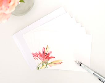 Set of 5 Notecards - Pink Lillies