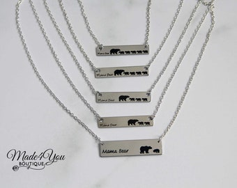 Mama Bear Necklace 1-2-3-4-5 Cub Mama Necklace Mom Bar Necklace Bear Cub Silver Mothers Day Gift Baby Necklace Mom Child Jewelry