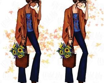 FASHION CLIP ART - fall fashion clipart, fall clipart , fall outfit, fashion girl clipart, fashion illustration clipart