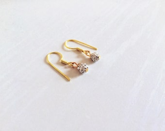Sparkling 18k Gold Dangle Earrings