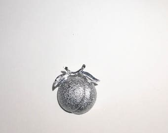 Apple Brooch Silvertone Sarah Coventry Pin Vintage Costume Jewelry