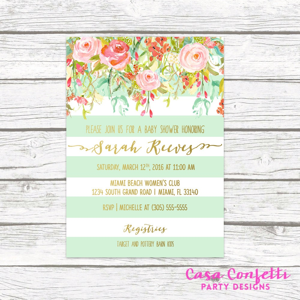 Floral Baby Shower Invitation Girl, Boho Baby Shower Invite, Spring ...