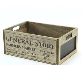 General Store Wooden Crate with Chalkboard  - 8BX130