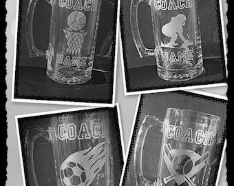 Coaches Gift - Etched Glass - Soccer Coach Gift - Baseball Coach Gift - Football Coach Gift - Basketball Coach Gift - Beer Mug