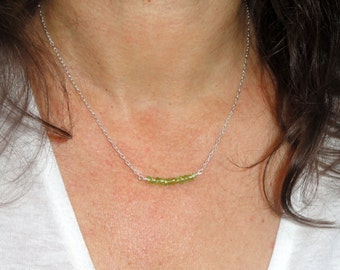 Sterling silver peridot necklace, Peridot necklace, August birthstone necklace, Birthday gift, Green stone necklace