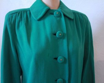 Vintage Green 1930s Winter Coat with Gold Satin Lining