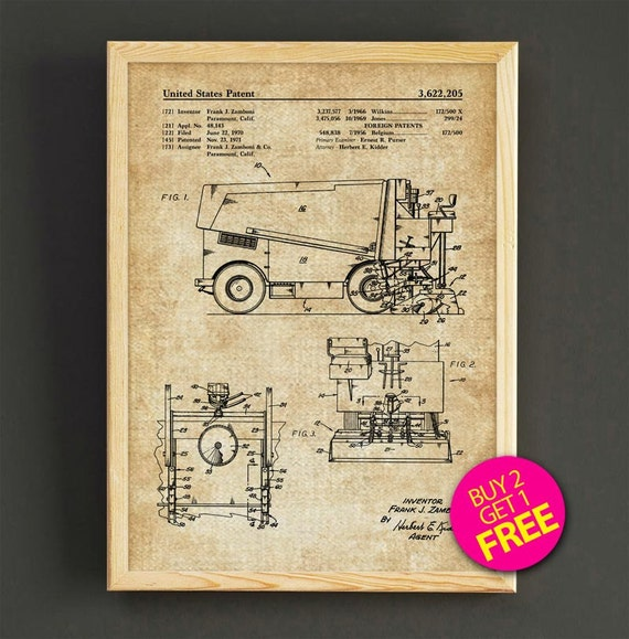 Zamboni ice resurfacing patent print hockey blueprint poster like this item malvernweather Images