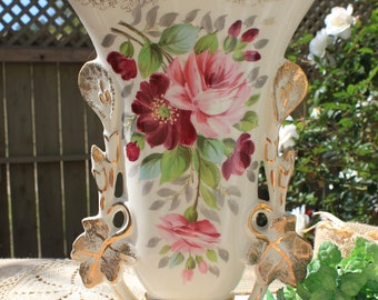 Tall heavy handpainted floral vase , pink roses 2 sided vase golod gilting