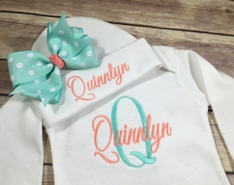 Baby Girl Coming Home Outfit, Monogram Baby Gown Beanie Hat, Personalized Take Home Outfit,  Newborn Girl Baby Gown, Baby Shower Gift