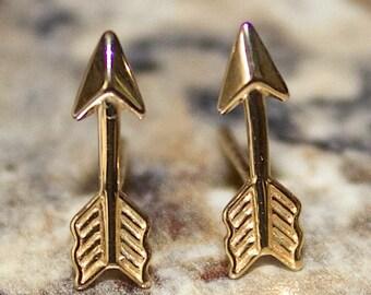 Arrow Stud Earrings for Pierced Ears 14K Yellow Gold - GES39592