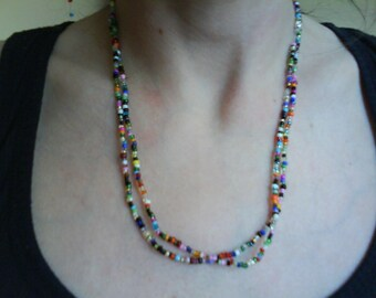 Fab Long Mixed Glass Seed Bead Necklace Love Beads Retro Festival Hippy Boho