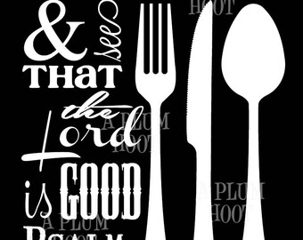 Kitchen Scripture Art Printable. Taste and See. Instant Download. (DIY, Printable) black and white print