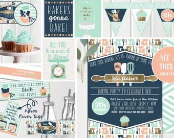 Kids Cooking Baking Birthday Party - Invitation AND Decorations - Cooking Baking Birthday - Cupcake Party  Instant Download and Edit at home