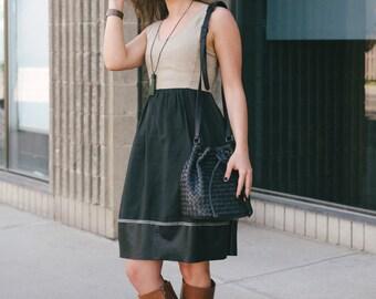Leather bucket bag, Black bucket bag, Black lamb leather, Bucket handbag