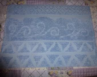 "35"" by 25"" Vintage Chenille Bedspread Piece   Powder Blue"