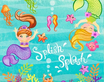 Adorable mermaids and sea creatures.