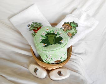 Bathroom Gift Basket, Embroidered Frog Towels, Toilet Paper Cover, Decorative Soap, Unique Bathroom Decor, Housewarming Gift, Hostess Gift