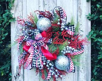 Whimsical Christmas Wreath, Traditional Christmas Wreath,Christmas wreath, large Christmas Wreath, Holiday Wreath,Christmas Fireplace Wreath