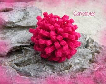 Pink felt flower ring.