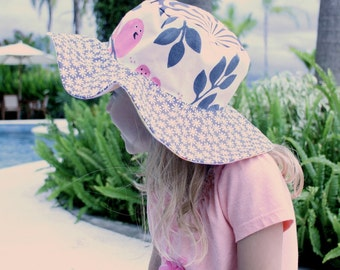 Wide brimmed sun hat for girls, colorful with birds, reversible, sun protection for kids