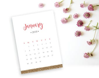 2018 Printable Monthly Calendar - Pink & Gold Glitter Desk Calendar - 5x7 Calendar - Home Organizing - 2018 Instant Download Calendar