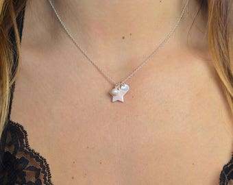 Star necklace Pearl water soft Medal and fine chain Silver 925