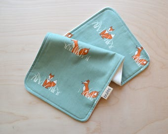 Organic Burp Cloth in Fox - Newborn Gift, Baby Shower, Gender Neutral Burp Cloth