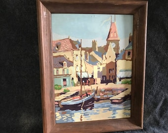 Vintage 1954 paint-by-number sailboat painting