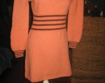 Handmade Peach/Salmon & Brown Long Sleeved Knit Mini Dress