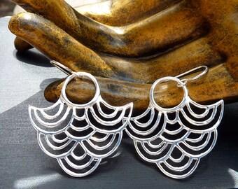 Art Deco Earrings, Sterling Silver Earrings, Geometric Jewelry, Tribal Earrings, Wave Earrings, Dangle Earrings, Fan Earrings, Japanese Wave