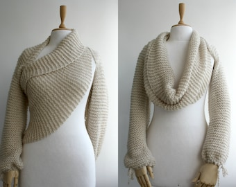 New Season Beige Bolero Scarf Shawl Neckwarmer Gift For Her Bridal for Bridesmaids  wedding