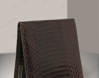 Real Cobra Bi-fold Wallet, Dark Brown - by Implora (#0427)