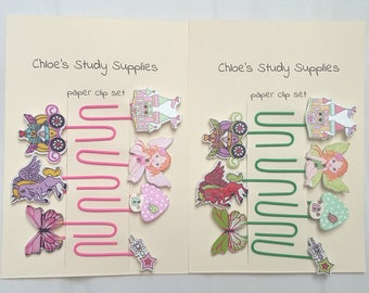 Set of 7 large assorted fairytale paper clips bookmark