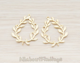 CNT016-MG // Matte Gold Plated Laurel Wreath Connector, 2 Pc