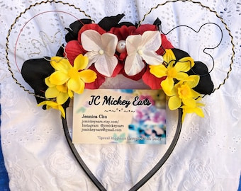 Mickey Mouse inspired Floral Wire Mickey Ears