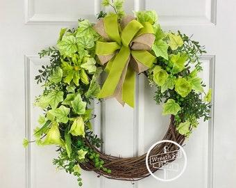 Greenery Wreath, Front Door Wreath, Window Wreath, Wreath Street Floral, Grapevine Wreath, Spring Wreath, Summer Wreath