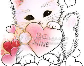 Digital Stamp - Valentine Kitty - Fluffy Cat with Hearts - Whimsical Animal Line Art for Cards & Crafts by Mitzi Sato-Wiuff