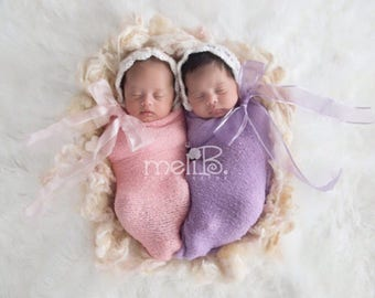 Baby Twin Photo Prop - Twin Bonnets - Matching Bonnets for Twins - Twin Girls Photo Prop