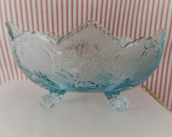 Footed Fruit Bowl - Jeannette Florabunda, Aquamarine